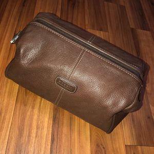 FOSSIL leather framed shave case / attaché bag